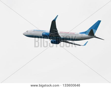 Moscow Region - June 4 2016: A passenger plane Boeing 737-8LJ airlines victory with the inscription