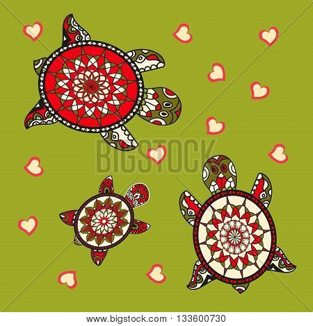 Background with turtle. Family of sea turtles. Vector illustration. Animal love.