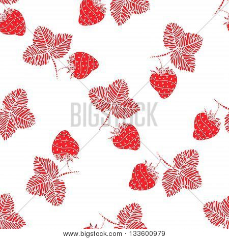 Simple seamless strawberry background. Template with delicious ripe strawberries. Vector.