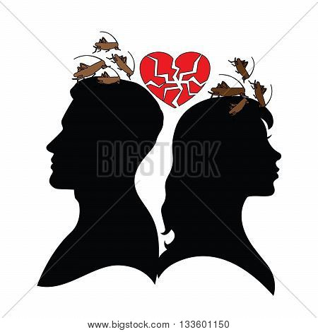 Psychology of relations. Silhouette of man and woman. Jealousy and suspicion.