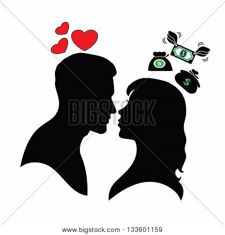 Psychology of relations. Silhouette of man and woman. Love and mercantilism