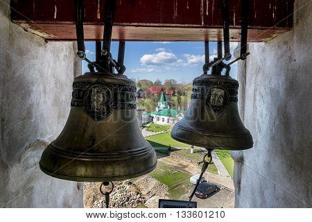 02 may 2016. Staraya Ladoga.The bells in the bell tower in St. Nicholas monastery Staraya Ladoga.Russia