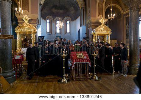 02 may 2016. Staraya Ladoga.The brethren in a Festive Easter service at the St. Nicholas monastery for men in Staraya Ladoga.Russia.