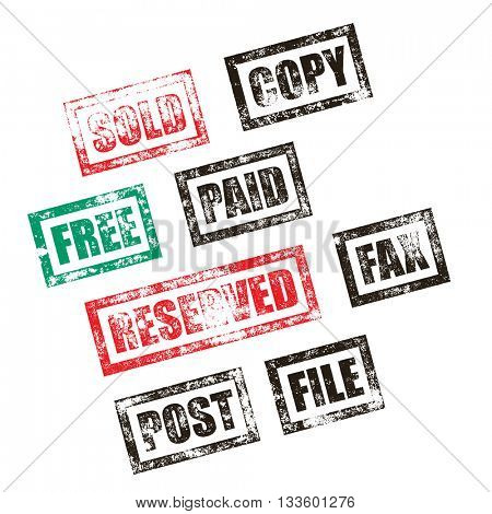 Sold, Paid, Free stamp set of red grunge square vintage rubber print. Copy, File, Reserved green stamp signs. Post, Fax black ink vector notification tag imprint.