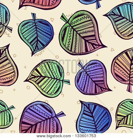 Summer Pattern With Color Leaf Nature Background