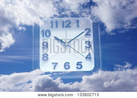 Clock and Sky - for time concept
