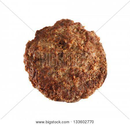 Burger patty on white background