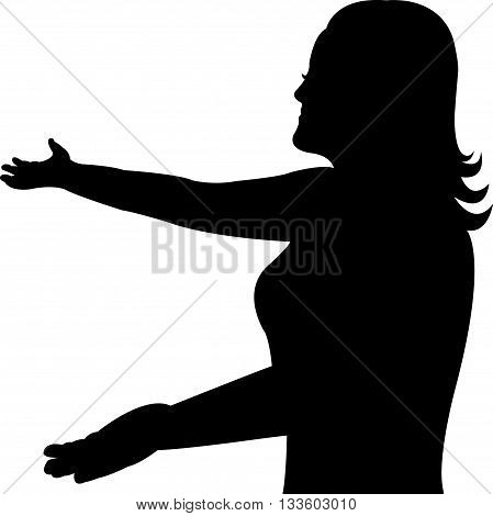 give me a hug, black color silhouette vector