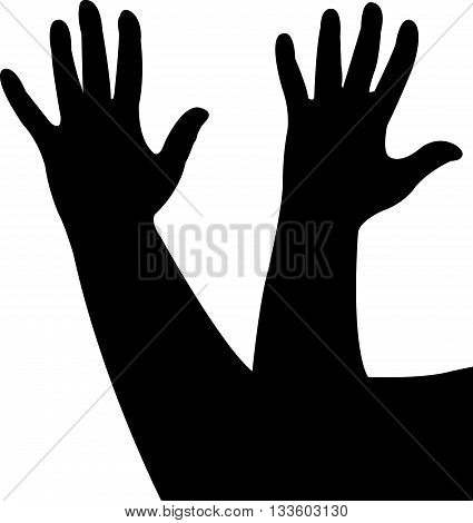 lady hands together, black color silhouette vector