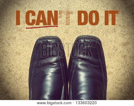Black men shoes shoes with words I can't do it (I can do it)