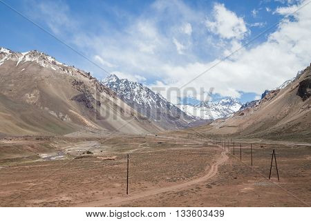 Landscape along National Route 7 through Andes moutain range close to the border in Argentina.
