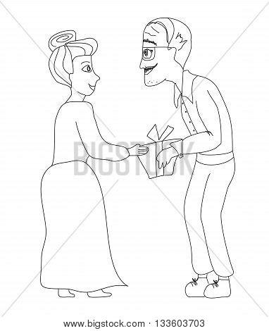 happy senior couple with gift box doodle illustration
