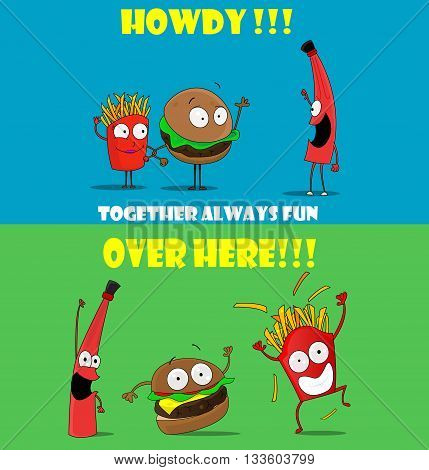Funny friendly cartoon banners promoting fast food. French fries, ketchup burger welcome visitors. The concept of fast food, snacks. Cartoon style. Vector