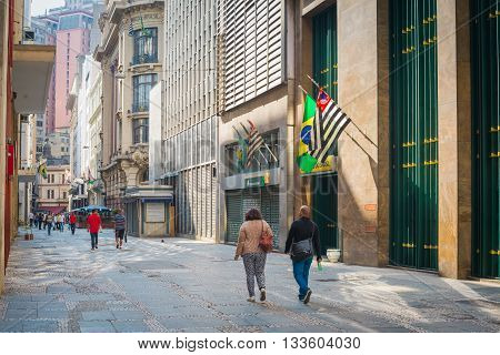 Sao Paulo - April 30, 2016 - Álvares Penteado Street Historic Simbol Located In Downtown In The City