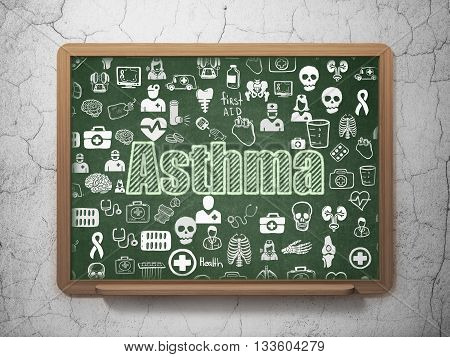Health concept: Chalk Green text Asthma on School board background with  Hand Drawn Medicine Icons, 3D Rendering