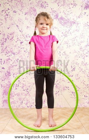 Cute Little Girl With Huls Hoop