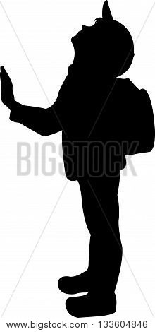 back to school kid, black color silhouette vector