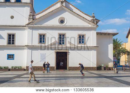Sao Paulo - April 30, 2016 - Pateo Do Colegio, Historic Simbol Located In Downtown In The City Of Sa