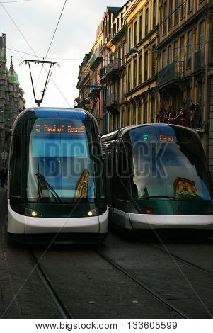 Scenic view of the tramway in Strasbourg France