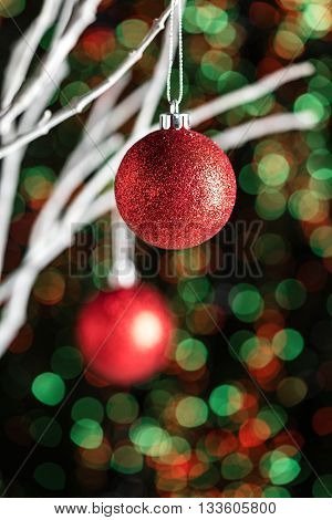 White Twigs With Christmas Tree Baubles
