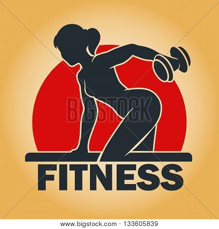 Young fitness woman body with dumbbells training in a gym. Fitness center emblem. Free font used.