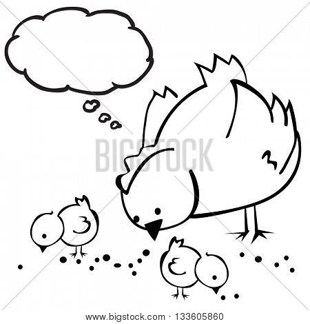 black and white hen with thought bubble cartoon
