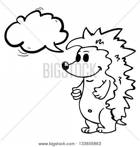 black and white hedgehog with speech bubble standing cartoon