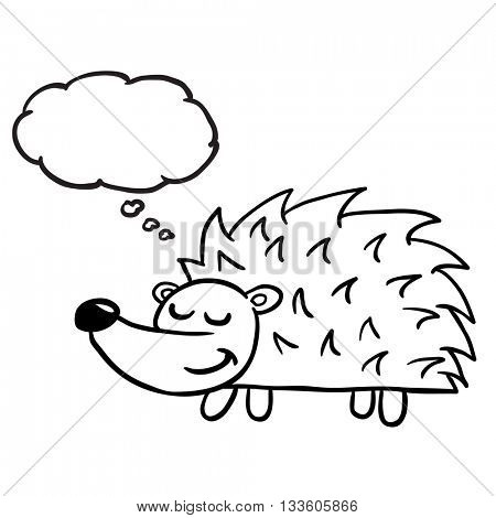 black and white hedgehog with thought bubble cartoon