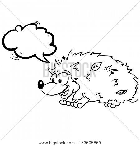 black and white hedgehog with speech bubble cartoon