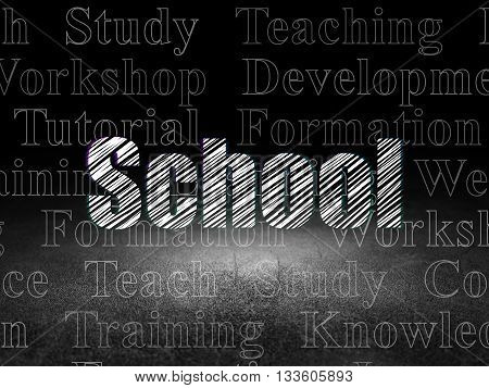 Learning concept: Glowing text School in grunge dark room with Dirty Floor, black background with  Tag Cloud