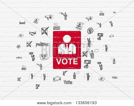 Politics concept: Painted red Ballot icon on White Brick wall background with  Hand Drawn Politics Icons