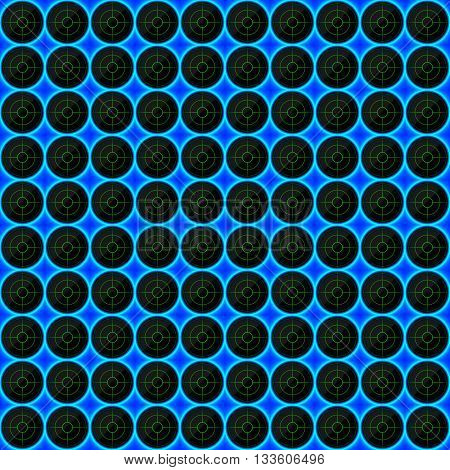 Circles of black stone with blue streaks of energy. Seamless texture. Technology seamless pattern. Geometric dark background.