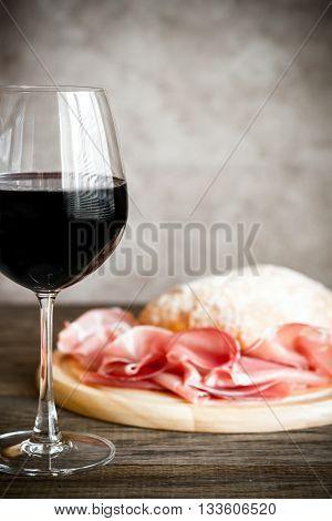 Red Wine With Prosciutto And Ciabatta