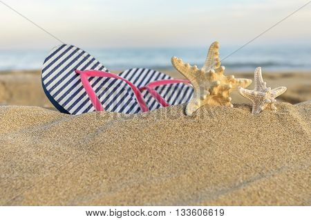 Marine still life. Flip flops and starfish in the sand.