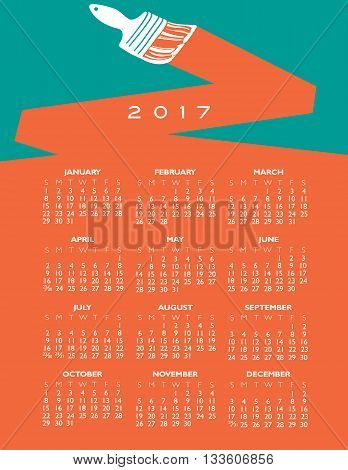 2017 creative painting calendar for print or web