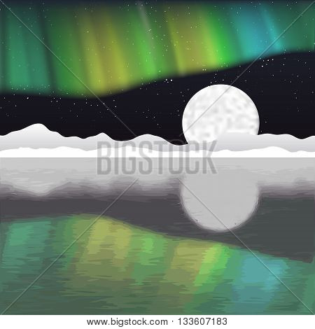 Arctic pole vector landscape with aurora borealis