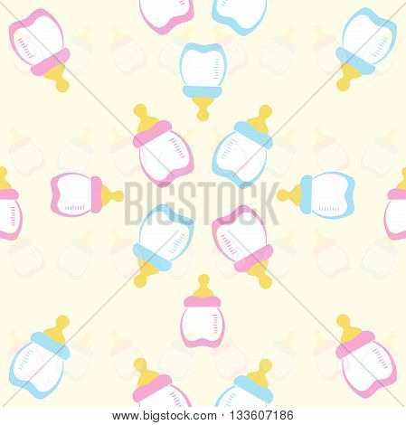 Baby bottle pink and blue on a yellow background. Kids seamless pattern. EPS 10
