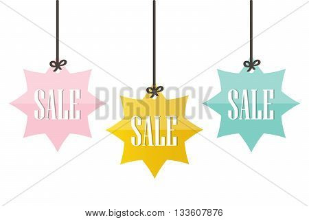 Cute colorful sale price tags, labels isolated on white background. Seasonal sale tags, labels.