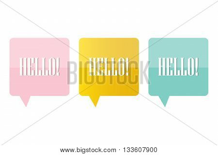 Cute pink, mint green and gold speech bubble with word hello in it isolated on white background.