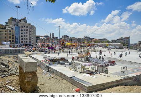 Istanbul Turkey - June 9 2013: The view from Taksim Square In the background