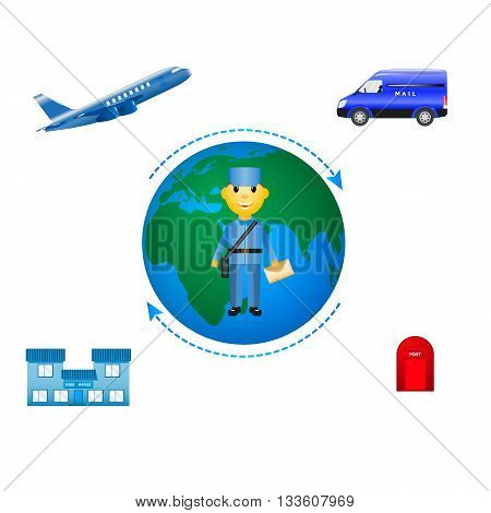 Vector illustration of the concept of mail delivery. Infographics sending letters. Isolated on white background.