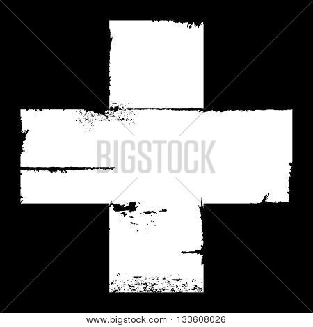 White and plain aged and worn edged cross