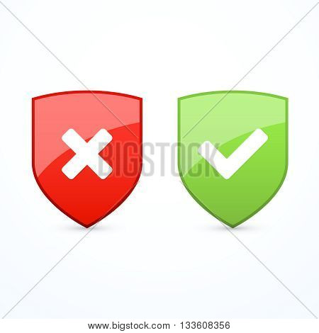 Shield set with check marks. Vector illustration eps 10.