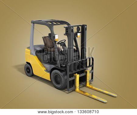 Forklift Loader Isolated On White 3D Render On Gradient