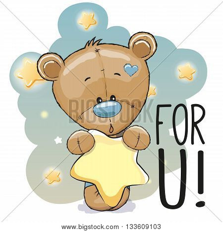 Cute Cartoon Teddy Bear with star on the stars background