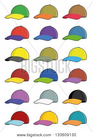 Collection of baseball cap icons with two colors