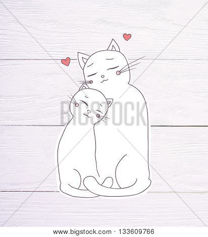 two white lovely cat cuddling, hearts above their heads