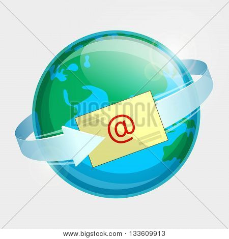 Eastern hemisphere of globe, e-mail and arrow around terrestrial globe. Momentary message throughout the world