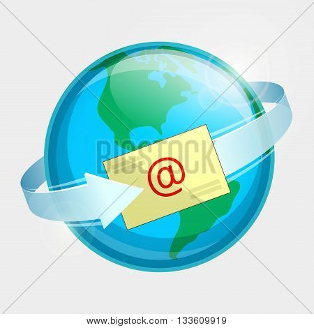 Western hemisphere of globe, e-mail and arrow around terrestrial globe. Momentary message throughout the world