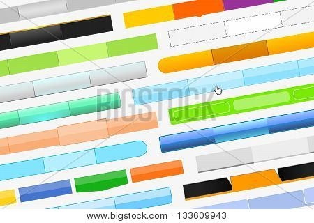 Variety of menu bars for website and cursor-hand on gray background. Beautiful design of web pages